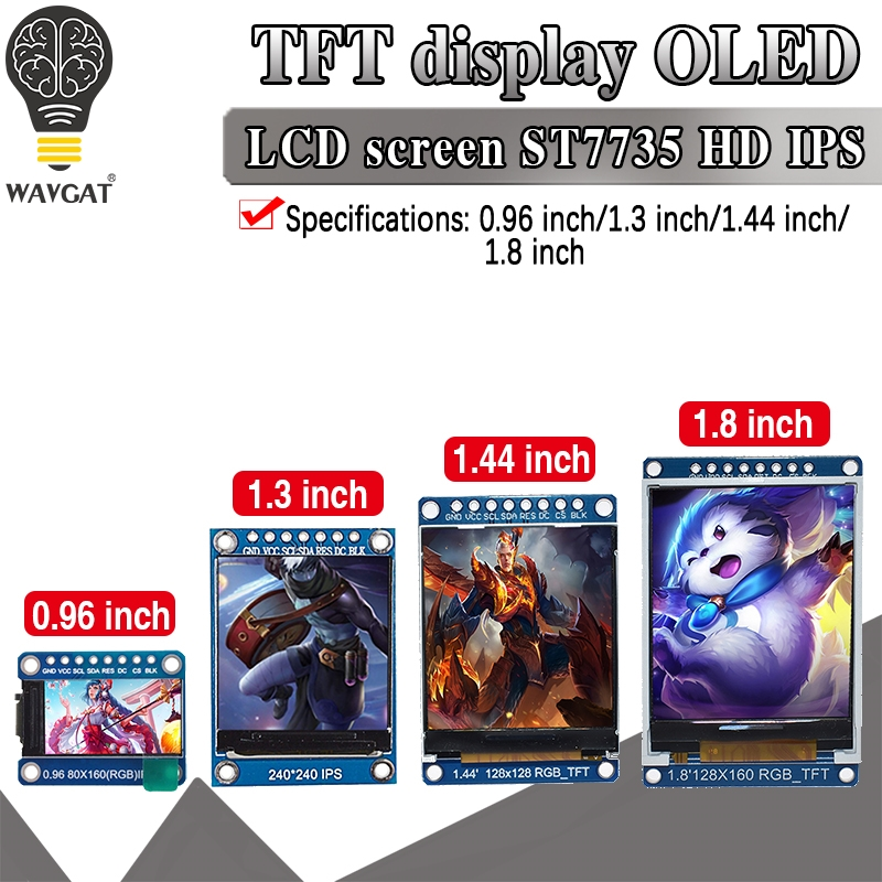 Tft display 0.96 1.3 1.44 1.8 polegada ips 7p spi hd 65k módulo lcd a cores completas st7735/st7789 drive ic 80*160 240*240 (não oled)
