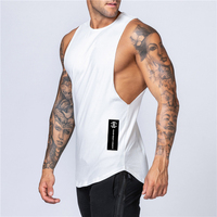 Workout Gym Mens Tank Top Vest Muscle Sleeveless Sportswear Shirt Stringer Fashion Clothing Bodybuilding Singlets Cotton Fitness