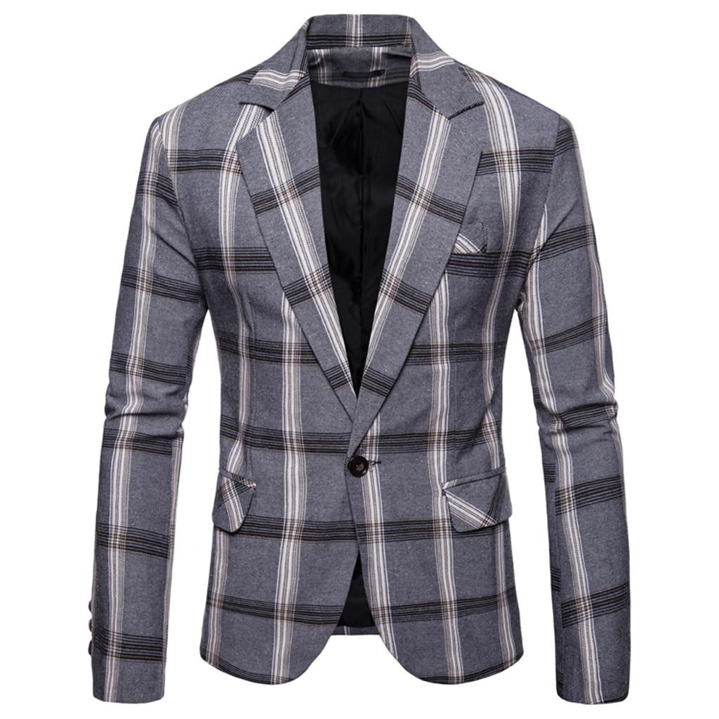 Men's Slim Button Suit Plaid Turn-down Collor Tops Solid Jacket Coat Business Casual Blazer Coat Men Brand Outwear Jacket 8.12