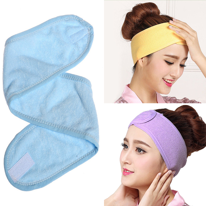 1PC Women Adjustable Makeup Toweling Hair Wrap Head Band Soft Salon SPA Facial Headband Hairband Colorful Hair Accessories
