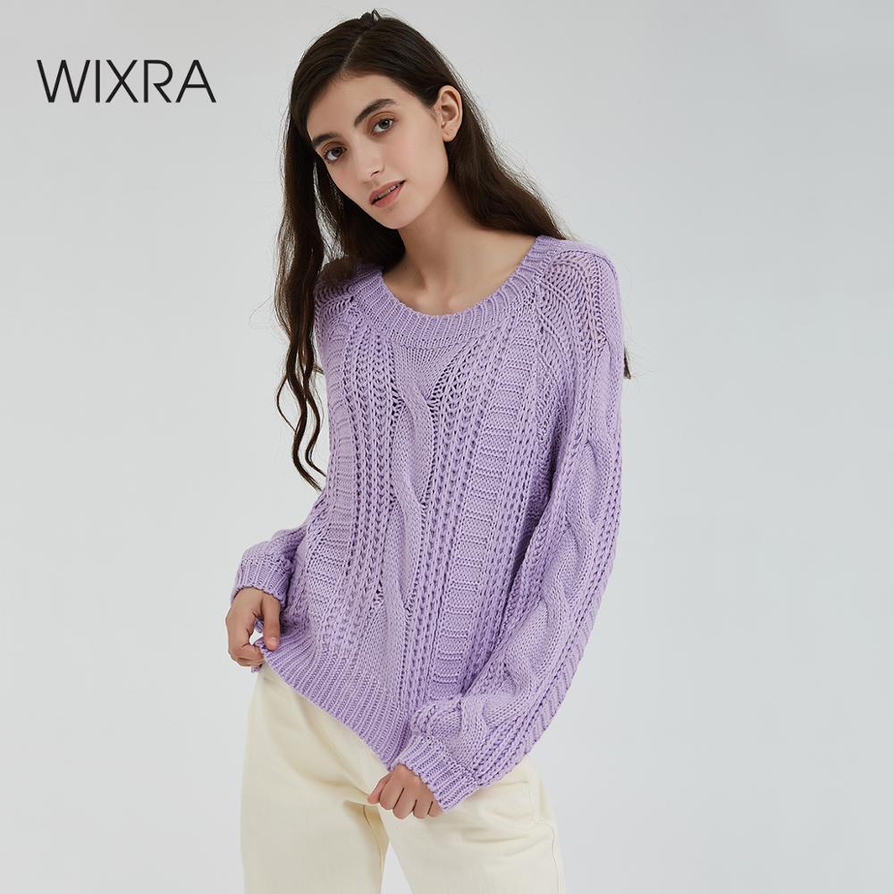 Wixra femmes Pull 2019 couleur unie femme O cou lâche chaud dames tricoté chandails Pull pulls automne printemps