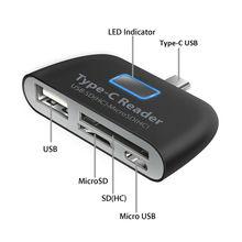 Lector de tarjetas OTG, multifunción, Adaptador de Tarjeta de Memoria, USB 3,1, tipo C, USB C, TF, para MAC, lector de tarjetas de teléfono y tableta