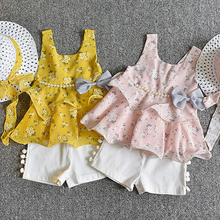 3pcs/set Kids Girls Clothing Summer Bow Pearl Chiffon Clothes Set with Hat Comfortable Cotton Fabrics
