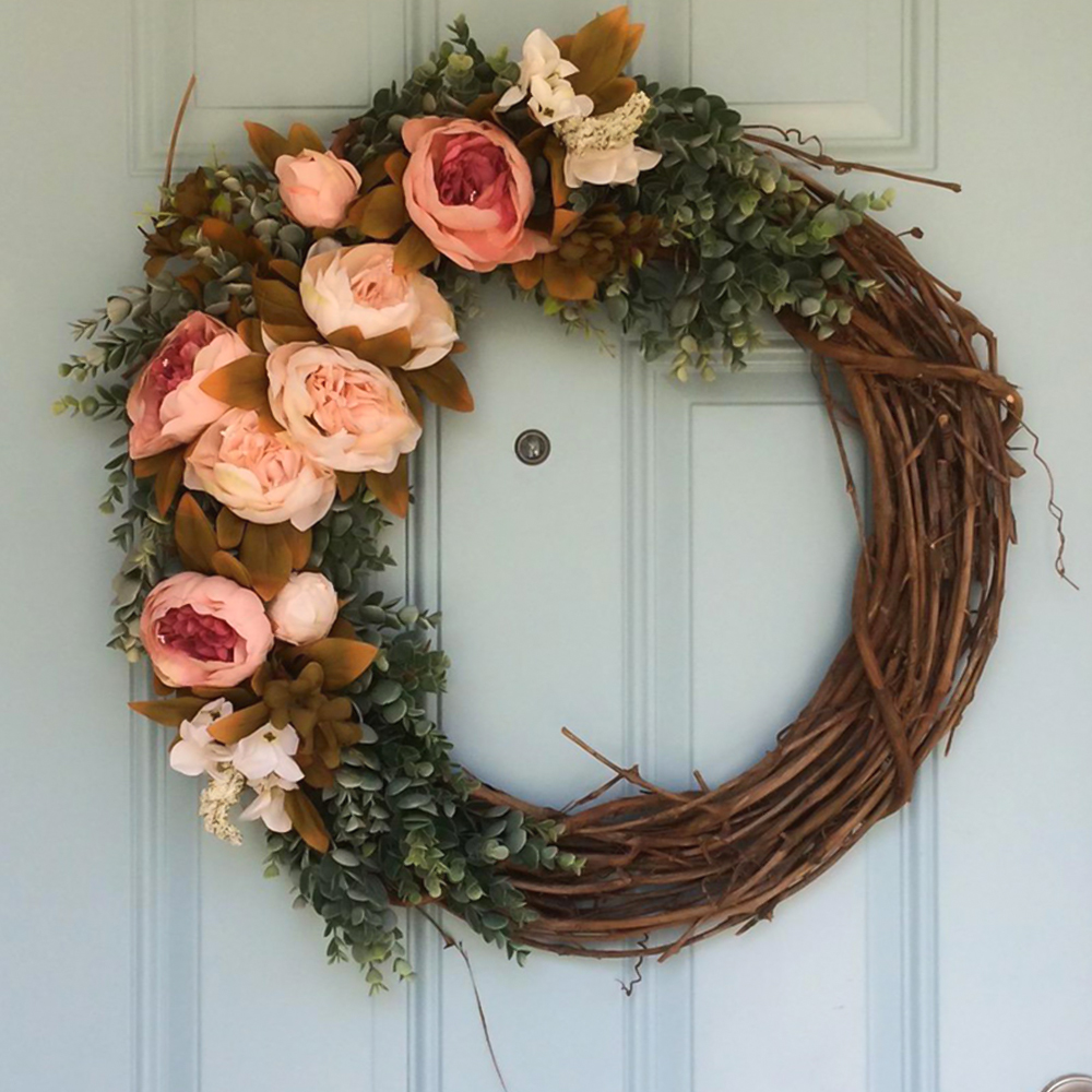 DIY Flower Wreath Natural Rattan Garland DIY Craft Easter Decoration For Home Door Decor Rustic Party Ornament