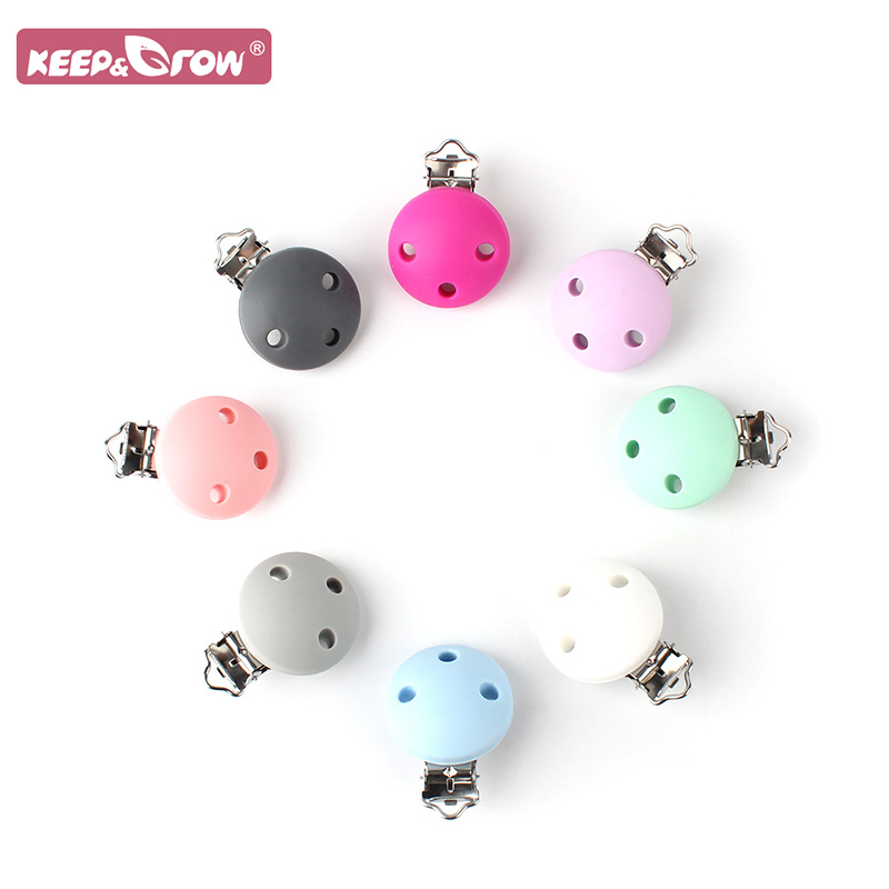 Keep&Grow 1pcs Baby Silicone Round Clips Baby Teething Nipple Chains Accessories Oral Care Products Molar Toys Stainless Steel