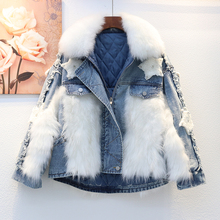 Jeans Jacket Denim Coat Oversize Outerwear Splicing Loose Thick Winter Women Cotton Liner
