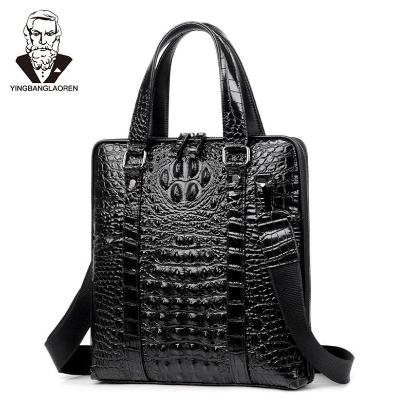 Crocodile Pattern Cow Leather Men's Handbag High End Business Briefcase Male Shoulder Cross Body Bag Laptop Bag Man Travel Bag