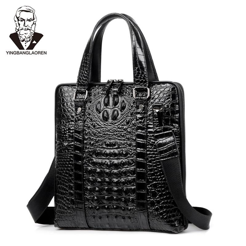 Crocodile Pattern Cow Leather Men's Handbag High End Business Briefcase Male Shoulder Cross Body Bag Laptop Bag Man Travel Bag