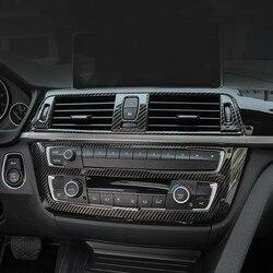 Kolor konsoli z włókna węglowego Panel CD dekoracja rama pokrywa wykończenia naklejki dla BMW 3 4 serii 3GT F30 F32 F34 wyposażenie wnętrz|Listwy wewnętrzne|   -