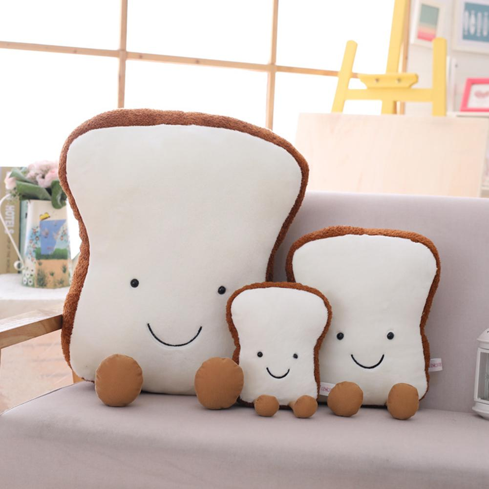 Cute Toast Bread Plush Plush Stuffed Doll Pillow Back Cushion Sofa Bed Decor For Birthday Gift Home Party Plush Doll Cartoon Toy