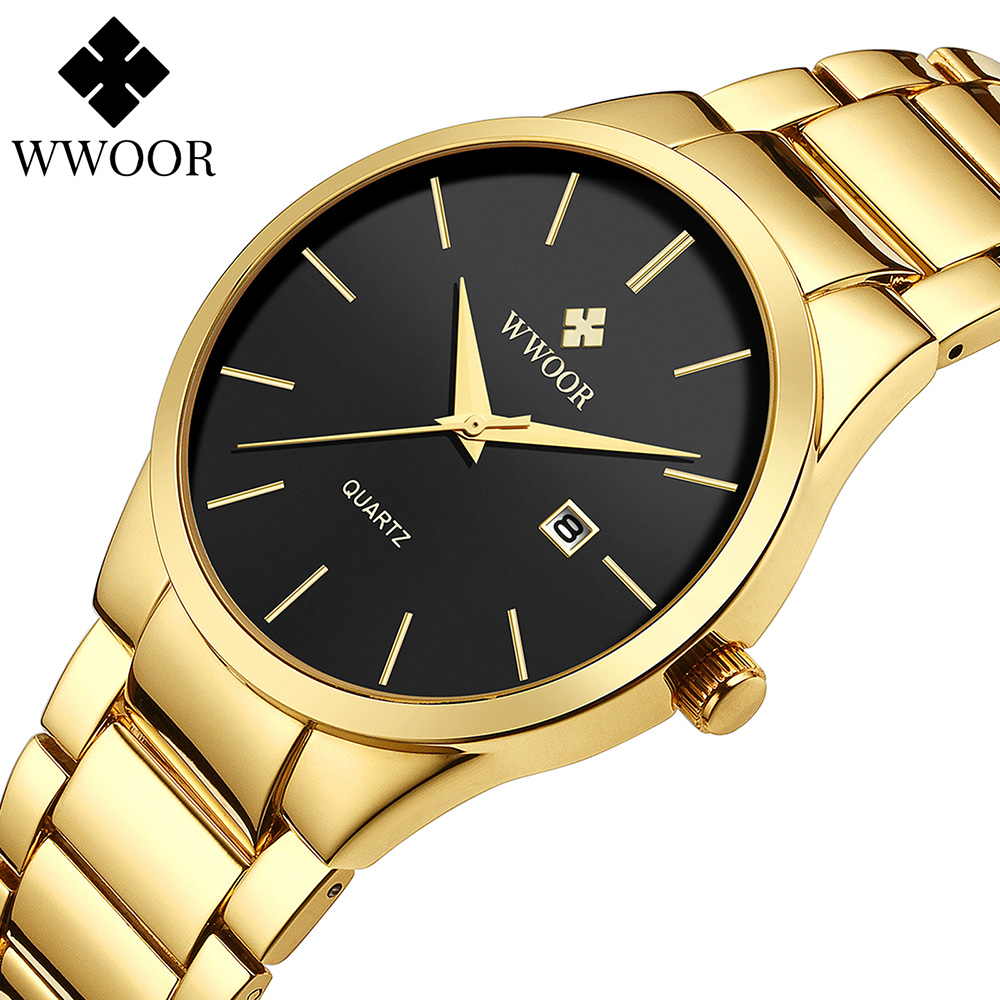 Simple Style Watches For Men Quartz Stainless Steel Clock WWOOR Mens Watches Top Brand Luxury Gold Black Waterproof Wrist Watch