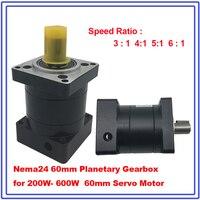 Speed Ratio 3 4 6 :1 Nema24 60mm Planetary Gearbox for 200W 400W 600W Servo Motor Reducer Shaft 14mm Carbon Steel Gear