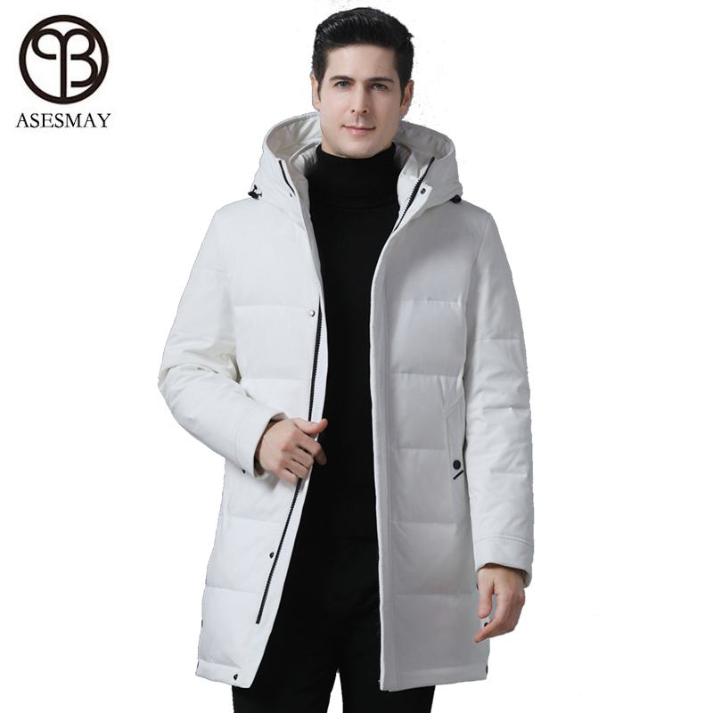 Asesmay 2019 New Winter Men's Down Jacket Stylish Male Down Coat Thick Warm Man Clothing Brand Men Apparel White Parka Overcoat