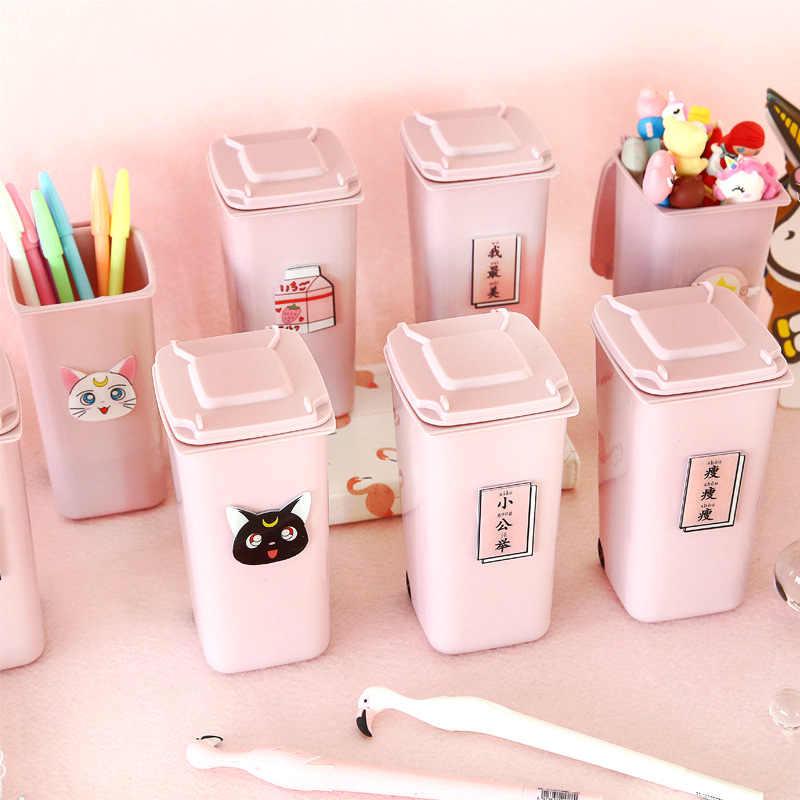 Adorable bolígrafo rosa para niña, contenedor de escritorio con forma de cubo de plástico para niñas, organizador de lápices, suministros de estudio para escritorio de estudiante, decoración del hogar 1 unidad