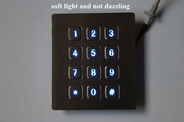 12 Keys 3x4 Matrix USB Kiosk illuminated Keypads Metal Stainless Steel Backlit Numeric Keypad For Access Control 5