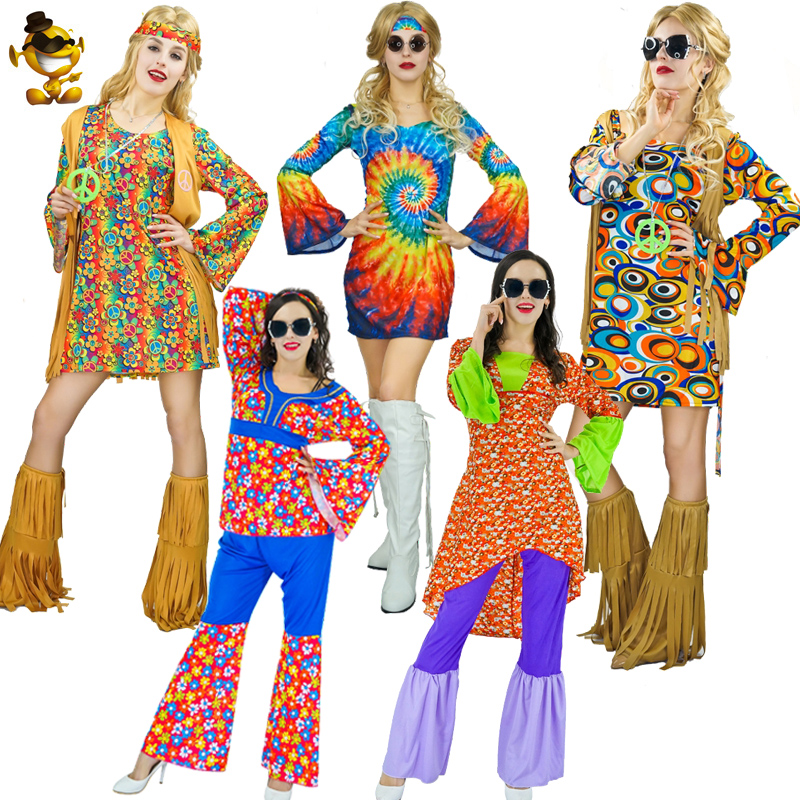 Purim Costume For Women Hippie Dress Costume Fancy Dress Flower 60's70's Hippie Clothes Cosplay Women Holiday's Costumes