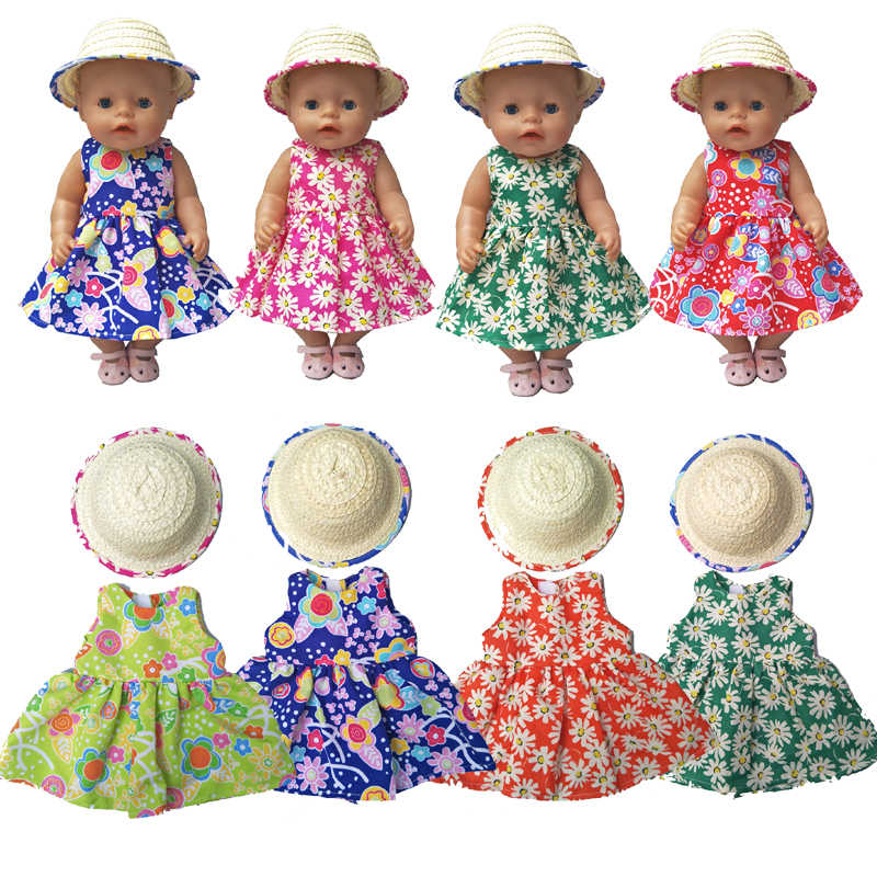 "43cm Baby Doll Dress Flower Pattern Doll Hat for 18"" Girl Doll Clothes Accessories Toys Wear"