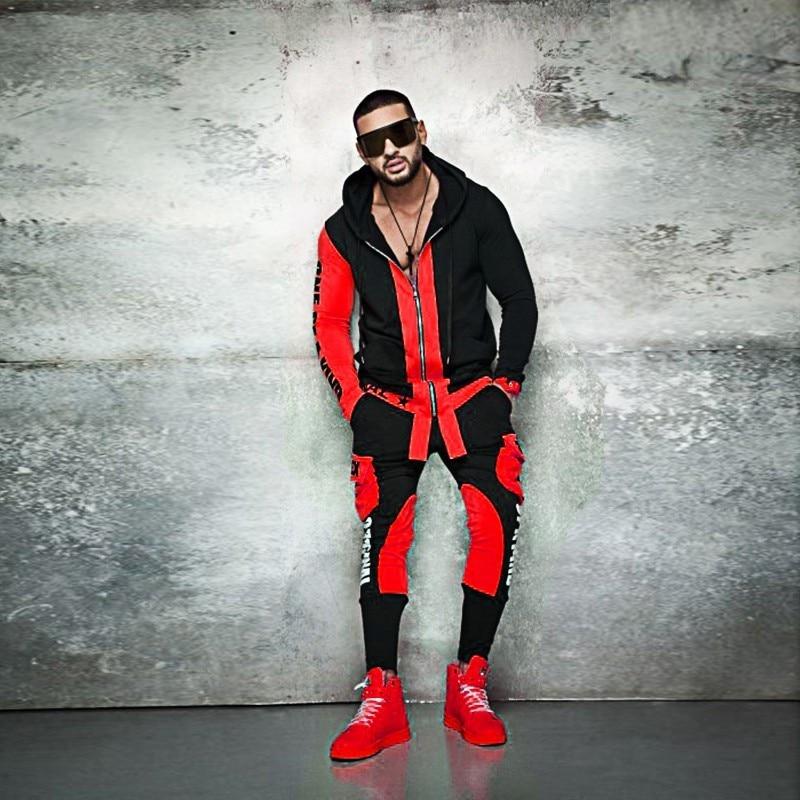 ZOGAA Men Track Suit Casual Slim Fit Outfits Men Letter Print Joggers Sets Zipper Steetwear Tracksuit For Men 2 Pieces Set