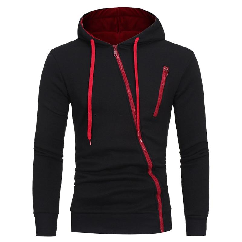 Trendy Sportswear Men Solid Casual High Quality Cotton Slim Hoodies Men Drawstring Oblique Zipper Cardigan Hooded Sweatshirt2019