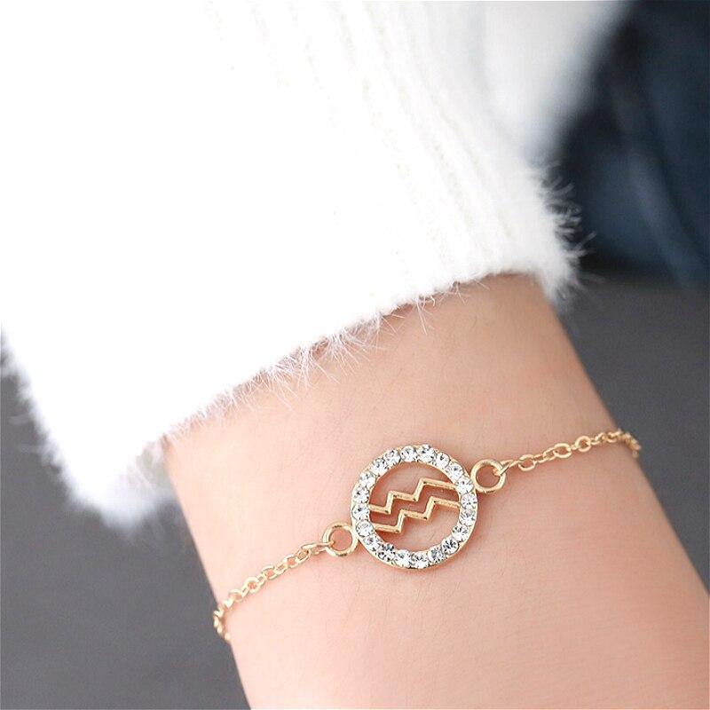 1 шт. модный ID Браслет двенадцать созвездий браслет и браслет браслеты золотые для женщин мужчин ID браслет ювелирные изделия
