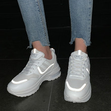 2020 New White Reflective shoes Women's Platform Sneakers Fa