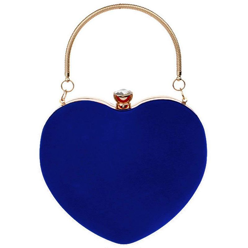 NEW-Heart Shape Clutch Bag Messenger Shoulder Handbag Tote Evening Bag Purse,blue