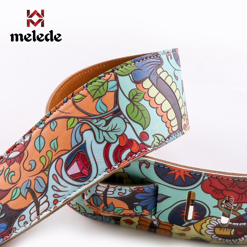 Full PU printed leather guitar belt rock guitarist performance special widened thickened strap personality skull universal belt|Guitar Parts & Accessories| - AliExpress