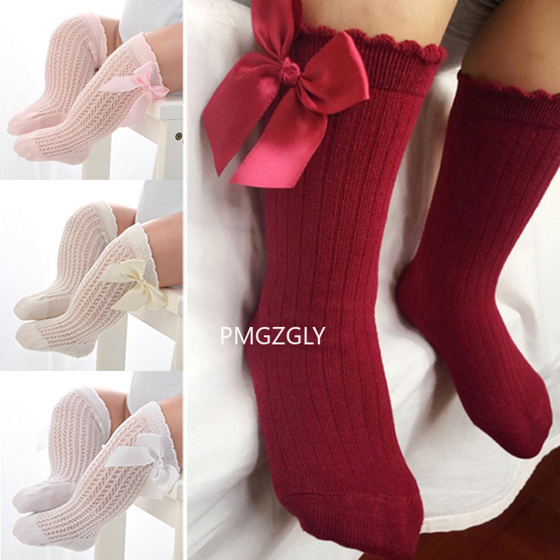 Newborn Baby Girls Socks Summer Spring Socks Kids Bow Knee High Long Tube Sock Sokken Princess Infant Baby Socks Calcetines