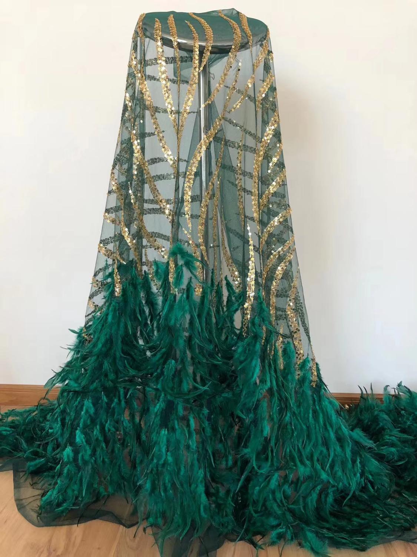 5yards africain net tulle dentelle tissu avec plumes bonne qualité brodé français dentelle tissu avec plumes VISAFE201
