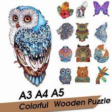 Diy quebra-cabeças de madeira crianças urso tigre girafa forma animal 3d quebra-cabeças para adultos melhor montessori presentes de natal