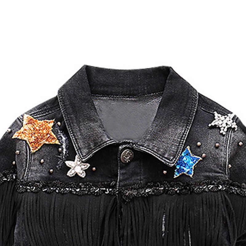 Meisjes Denim Kwastje Jas Boutique Cowboy Jassen Baby Meisjes Kleding Bovenkleding Klinknagel Jassen Kids Vintage Jassen Kinderen Kleding