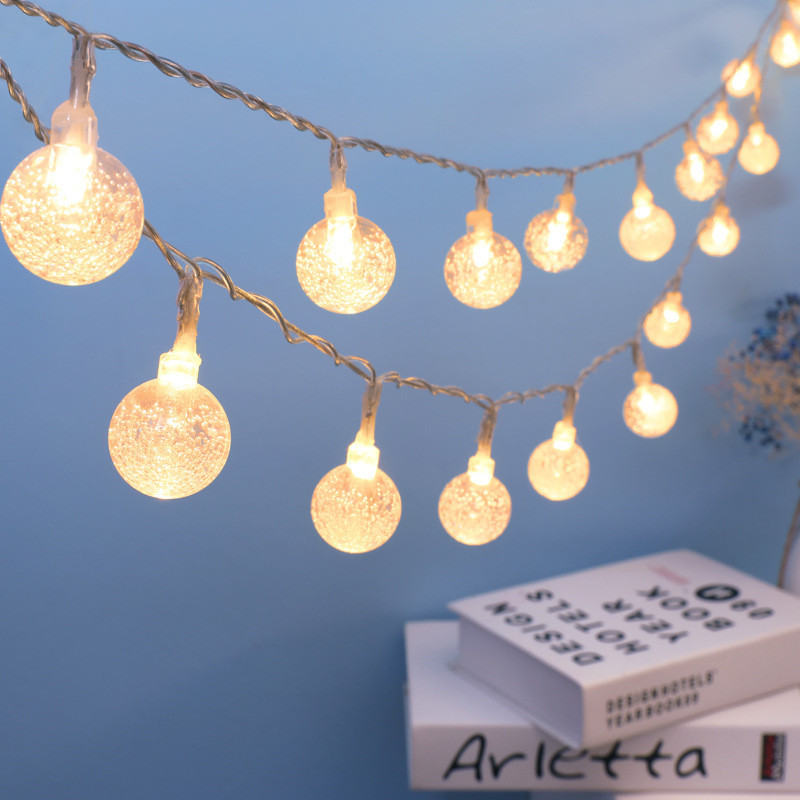 Christmas Crystal ball LED battery operated Garland LED Fairy light String Festival decorations light for tree bedroom Garden