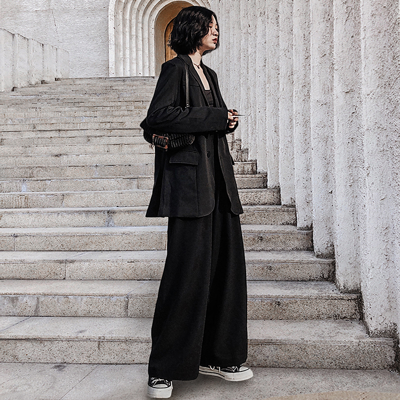 Casual Ladies Work Pant Suit 2020 Oversized Korean Black Blazer Mujer+Button Wide Leg Pant Women Blazer Suit Spring Streetwear