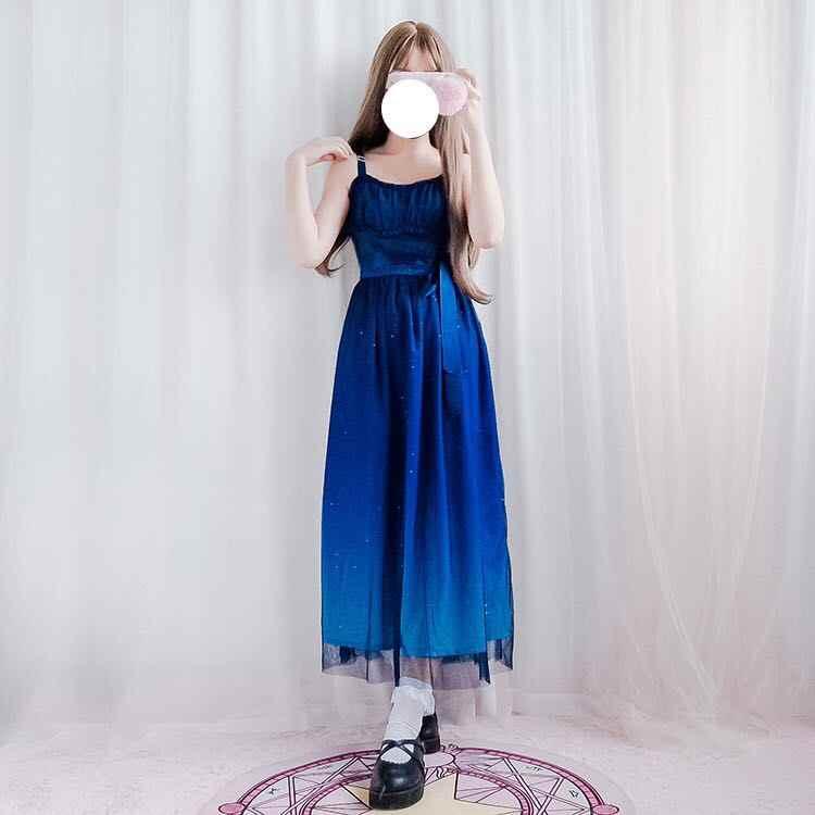 יפני מורי ילדה שמלה לוליטה כוכב שיפוע JSK ספגטי רצועת Loli רשת מתוק גותי רטרו תה מסיבת שמלת Loli קוספליי