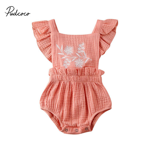 Pudcoco Newborn Floral Bodysuit Infant Baby Girl Clothes Kids Cotton One Piece Short Sleeve Sleepwear Backless Jumpsuit Outfits