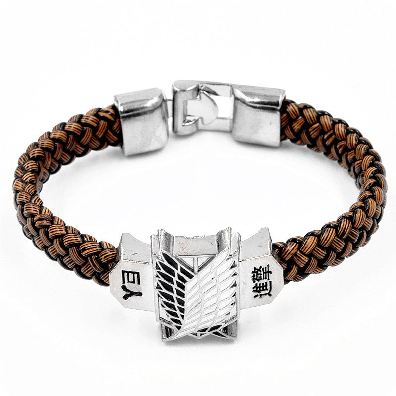 New Arrival Anime Attack on Titan Figure Toys Action Figure Leather Rope Woven Bracelet Fans Cosplay Collection Gift(China)