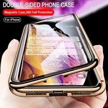 Coque magnétique à absorption en métal, Double face en verre pour iPhone 11 Pro XS Max 7 8 6 6s Plus X XR SE