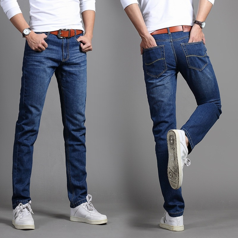 Autumn Korean-style Teenager Jeans BOY'S Fashion Man Slim Fit MEN'S Trousers Autumn And Winter Straight-Cut Casual Pants Men's