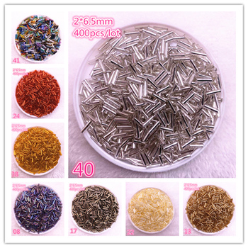 Wholesale 400pcs/lot 2*6.5mm Charm Cylindrical Glass Bugle Spacer Beads for Jewelry Making DIY Handmade Finding image