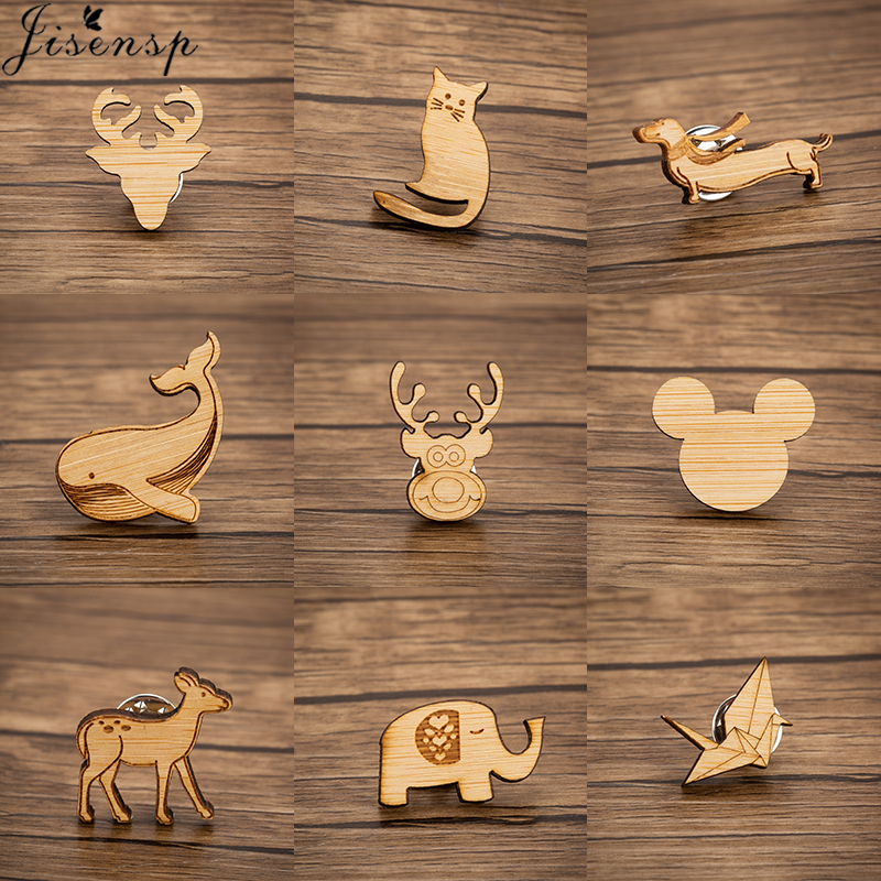 Jisensp Simple Fashion Wood Brooches Women Cat Deer <font><b>Whale</b></font> Elephant Enamel Pins Jewelry Accessories for Children Christmas Gift image