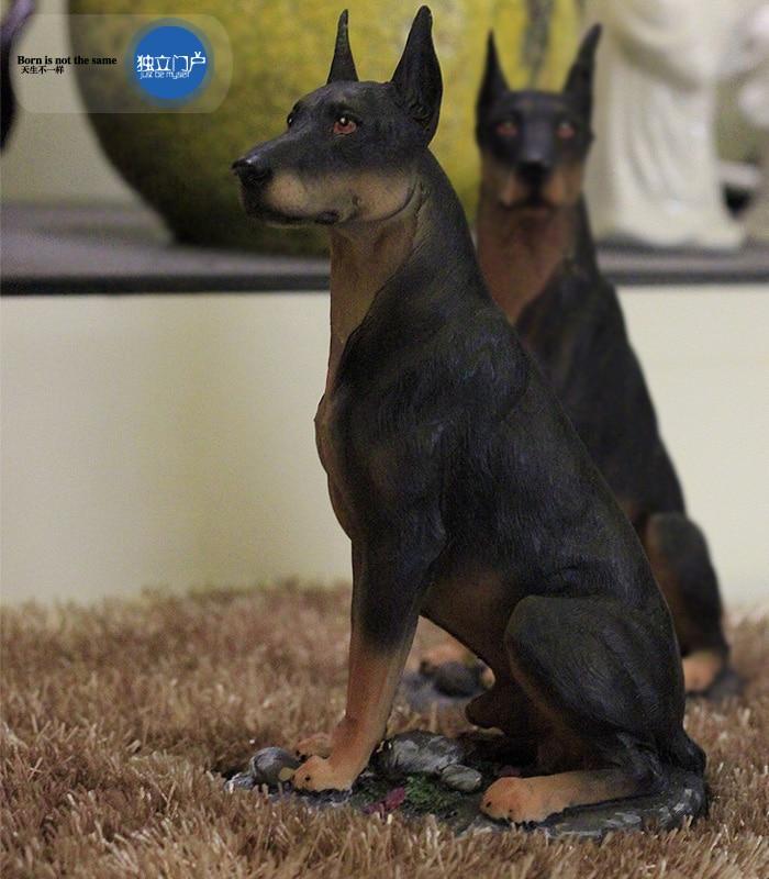 Resin Doberman Dog Figurine Home Decor Crafts Room Decoration Vintage Study Office Simulation Dog Ornament Resin Animal Statue