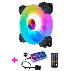 Новый Настольный ПК компьютер вентилятор чехол Вентилятор охлаждения блок вентилятор 8025 12 см с светодиодный подсветкой изменение цвета RGB ...