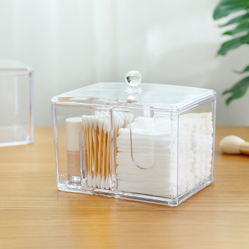 Transpa Acrylic Cosmetic Cotton Pad Storage Box Swab
