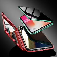 Metal Bumper Magnetic Anti-view Phone Cover for iPhone 7/8 Plus X/XS/XR/XS Max Privacy Tempered Glass Screen Cover Protector privacy tempered glass magnetic case for iphone 11 pro max xs max xr x 8 7 6s 6 plus se magnet metal bumper anti peeping cover