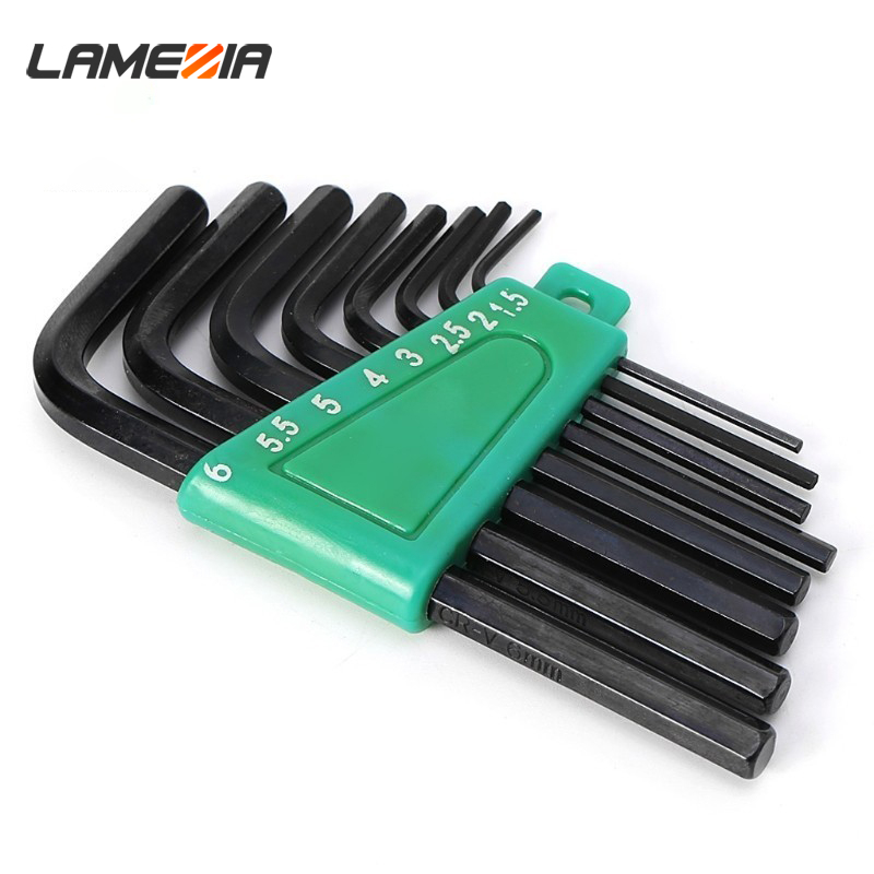 LAMEZIA 1.5mm-6mm 8pcs Allen Key Hexagon  Wrench Tools Set Matte  End Spanner Set Screwdriver Set Tool Kit