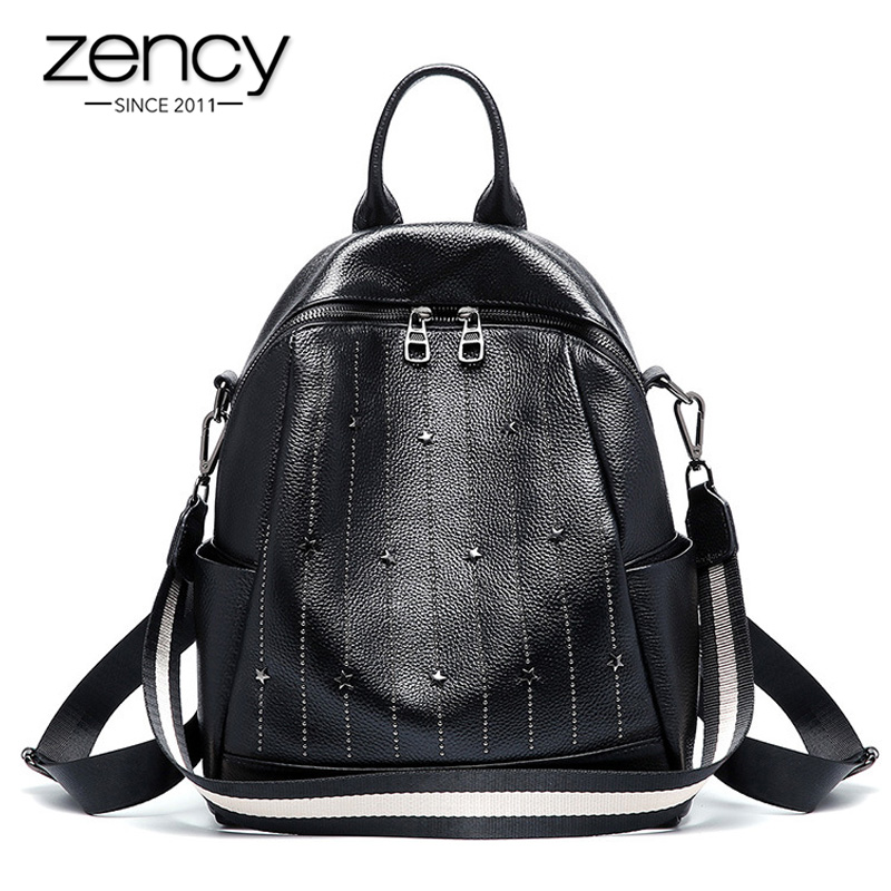 Zency 100% Genuine Leather Daily Casual Backpack For Women Rivets Preppy Style Schoolbag High Quality Black Travel Beach Bag