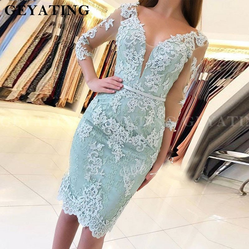 Mint Green Party Cocktail Dress 2019 Three Quarter Sleeves V-Neck Knee Length Lace Appliques Women Formal Party Gowns