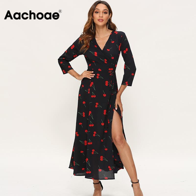 Elegant Dresses Women Three Quarter Sleeve Cherry Print Long Dress Boho High Split V Neck Sexy Casual Maxi Dress Vestidos Largos