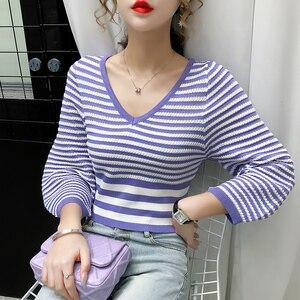 Image 4 - ฤดูใบไม้ร่วงแขนยาวเสื้อกันหนาวผู้หญิงเสื้อกันหนาวแฟชั่นผู้หญิง2020 Vคอเสื้อผู้หญิงPulloverเสื้อกันหนาวผู้หญิงD501