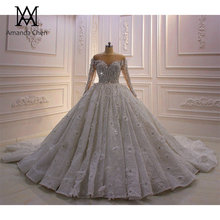 High Quality Long Sleeve Rhinestone Crystal Luxury Wedding Dress 2020 Ball Gown